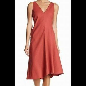 Theory Red V Neck Linen Midi Dress